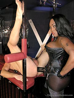 Black babe is armed with big strap-on cock and making anal sissy out of the white man