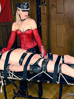 Naughty bondage red knee high boots