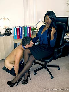 Every white sissy has to submit to black lady boss and worship her sexy legs on her first command