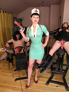 Kinky nurse is in the middle of turning two slaves into sissy dolls by using hardcore BDSM, sex toy and kinky fetish clothing