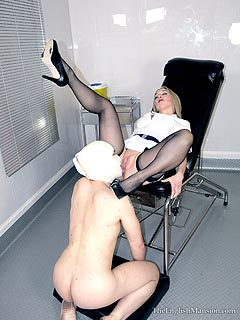 Leggy nurse is kind enough to let worthless femdom slave to taste her ass and pussy and lick her
