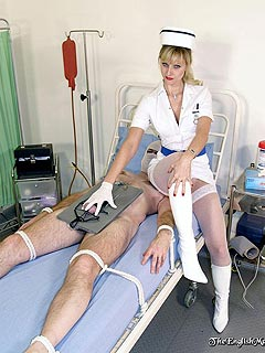 Nurse is playing with helpless male: tying his cock with thin rope and fucking his ass with kinky dildo toy