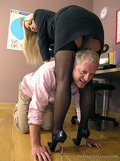 Leggy office lady takes employee in submission: using canning and paddling to punish the guy