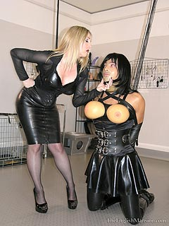Dominatrix wear sissy gang bang