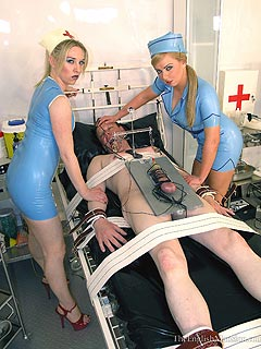Crazy nurses are having slaves of both sexes tormented with medical bondage and some really kinky toys
