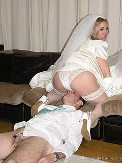 Bride is giving a groom hard times facesitting him and whipping his ass