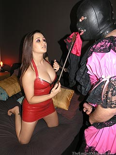 Cross-dresser is trained to serve his lovely young mistress: to worship her feet and suck toes