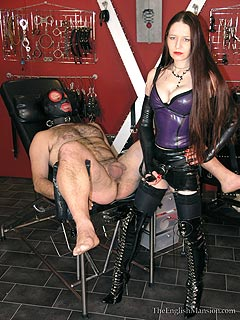 Dominatrix used a selection of BDSM racks to torture submissive man and is going to end up the session with deep anal penetration