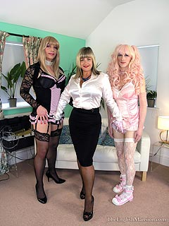 Elegant lady is educating a couple of feminized sissies by using vacuum cock devices and ass plugs