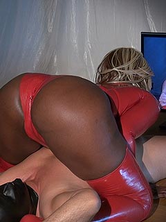 White male is loving those moments when big black booty is sitting on his face and smothering him violently