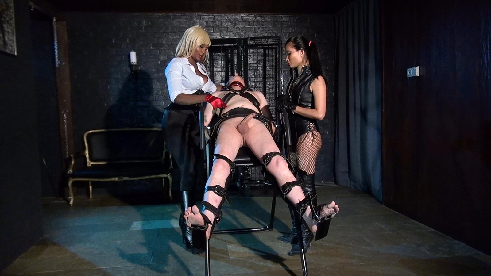 castration cbt public domination   interracial dommes are having nude