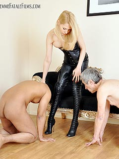 Leather knee high boots domination porn