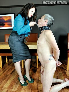 Wife is improving husband's foot-licking skills by spanking, caning and whipping his ass