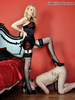 Older male is submitting to strapon-armed blond who is going to fuck his ass
