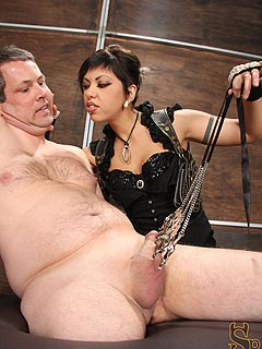 Crule girl is pulling the balls sack with lots of steel clamps attached putting the slave in extreme pain