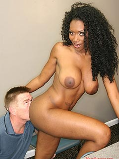 Secy black Goddess turned white sissy into her private pussy licking slave
