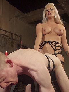 Leg mistress loves to feel slave's cock deep inside her after degrading him with anal strap-on and bondage