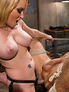 Horny MILF Aiden Starr is fucking helpless slave with her slutty pussy after tormenting him with extreme BDSM