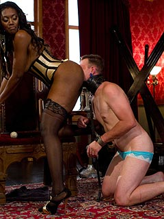 White slave receiving the proper training from the dominant ebony: trained to worship black pussy and loving it