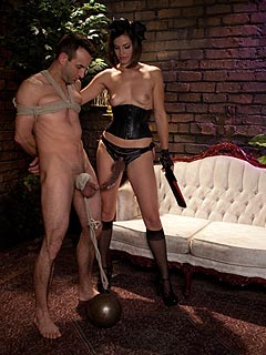 Posh lady is going to provide femdom slave with a long series of bondage and BDSM training exercises
