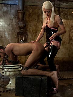 Cruel Goddess is using bondage, strap-on and BDSM tortures to put submissive man in misery