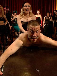 Poor man is suffering all possible kinds of femdom torments and humiliation when taken over by a crowd of horny dominant bitches