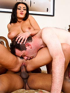 Demanding bitch wants her cuckold husband to spend the same amount of time sucking black cock as she is