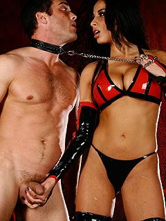 The pleasure of belonging to beautiful dominatrix and the feeling of your balls being crushed by her soft hand