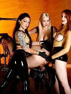 Three sexy girls with strap-on toys is way too much for fat femdom slave to handle: his ass is going to be destroyed