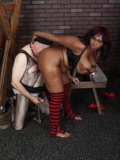 Big fat black woman is using white sissy to keep her ass and pussy perfectly clean with excessive licking