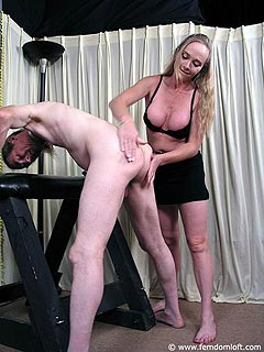 MILF bitch wants men to be all naked and handcuffed when she makes them whisper with spanking and paddling
