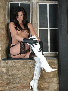 Just imagine how kinky it would be to have topless mistress to trample your penis with those high heel knee boots!