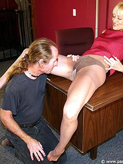 MILF secretary can turn her boss into pussy slave anytime she wants by using nothing but her legs in tan pantyhose