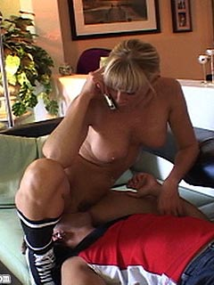 MILF wife is always providing her hubby with smothering session before going on a cuckolding date